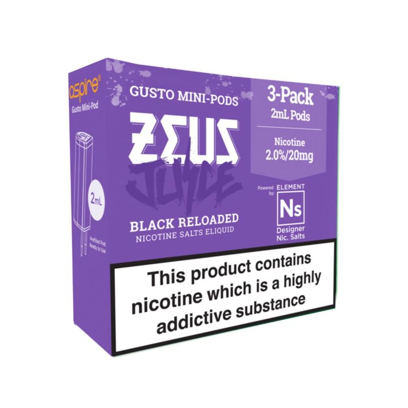 Black Reloaded Zues Juice NS10/NS20 Element Gusto Pods