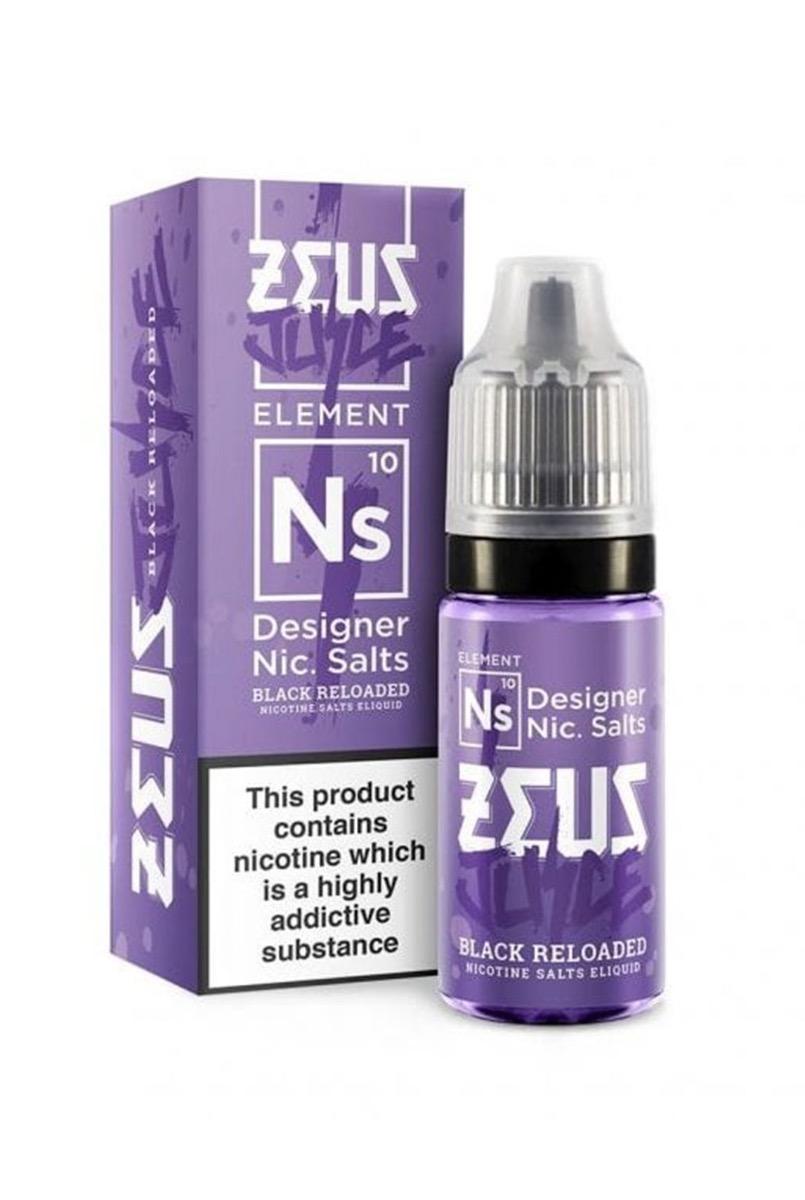 Black Reloaded   10ml Zeus Juice Nic Salts E-Liquid